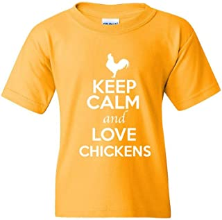 ZoDong Keep Calm and Love Chickens Animal Lover Youth Kids T-Shirt Tee
