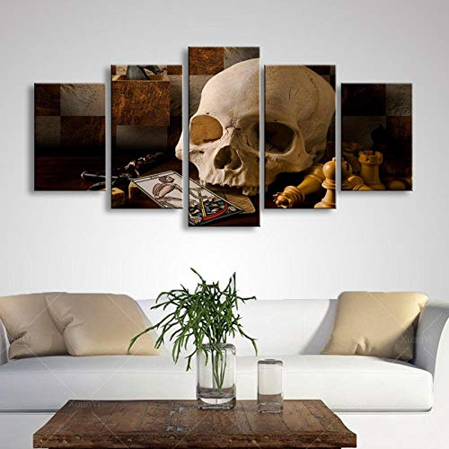 GBxebenYN02 5 panels art print decorative canvas 5 panels Pieces of sugar skull photo face in real time Decorative canvas Living room sofa study room art deco canvas 200x100cm