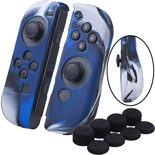 YoRHa Handgriff Silikon Hülle Abdeckungs Haut Kasten für Nintendo Switch/NS/NX Joy-Con controller x 2(Tarnung blau) Mit Joy-Con aufsätze thumb grips x 8