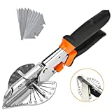 Multi Angle Miter Shear Cutter, Jhua 8'' Multifunctional Trunking Shears HandTools 45 Degree To 135 Degree MiterShears CuttingTool with 10 Spare Blades for Cutting Chamfer, Soft Wood, Plastic, PVC