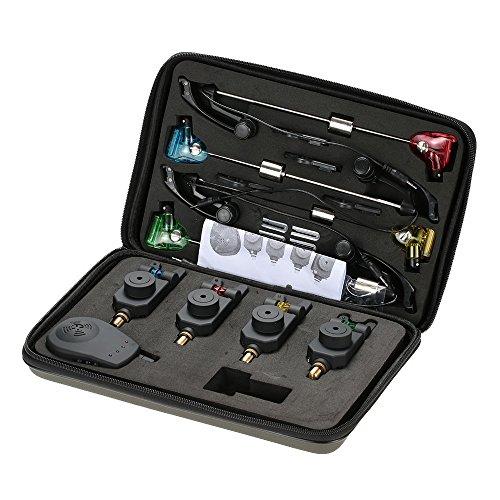 Lixada Kit de Alarma de mordedura inalámbrico 1 Receptor + 4 alarmas + 4 LED Swinger Indicador para Pesca
