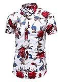 LEFTGU Men's Slim fit Floral Printed Short-Sleeve Button-Down Dress Shirt (Medium Chest: 42.6 inch, Short White red 9899)