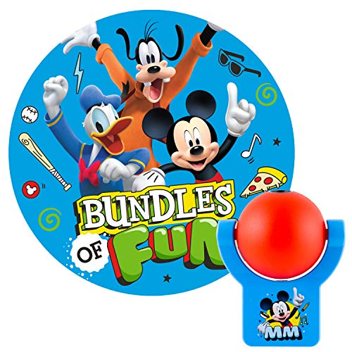 Projectables Clubhouse Plug-in LED Night, Light Sensor, Disney Characters, Goofy, Donald Ceiling, Wall, or Floor, Red/Blue, 11743, Mickey Mouse | 1-Image