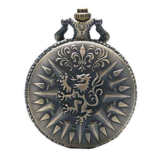 """Haus Lannister Wappen Antik Bronze Effekt Retro Vintage Fall Männer Quarz Taschenuhr Halskette auf 32\""""Zoll / 80cm Kette"""