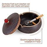 ONEDERZ Aschenbecher für Draußen mit Deckel, Keramik Windaschenbecher Geruchsdicht Sturmaschenbecher für Home Office Dekoration (Braun) - 2