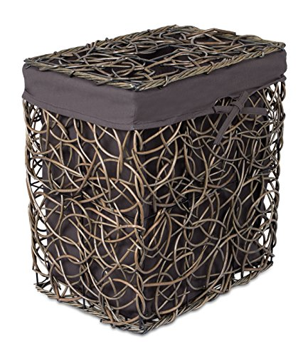 BirdRock Home Decorative Willow Laundry Hamper with Liner | Woven Wooden Laundry Basket | Wicker Reed Frame and Lid | Removable Liner | Dirty Clothes Storage | Charcoal Grey
