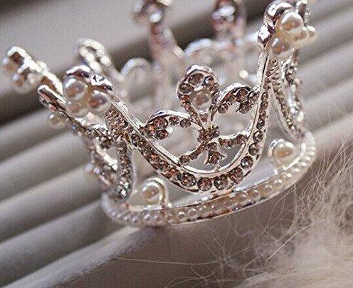 Bridal Wedding Party Baby Pearl Rhinestone Full Circle Round Mini Crown...