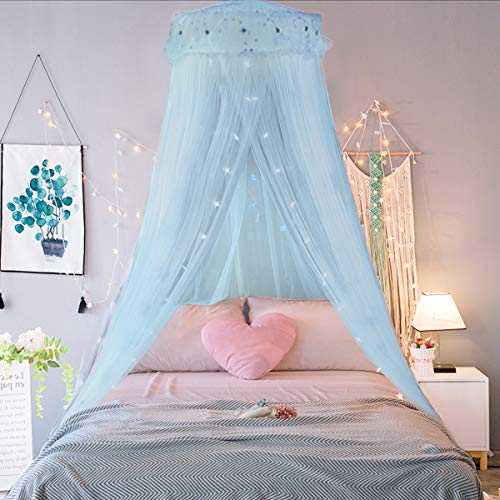 Jeteven Girl Bed Canopy Lace Mosquito Net for Girls Bed Princess Play Tent Reading Nook Round Lace Dome Curtains Baby Kids Games House Light Blue