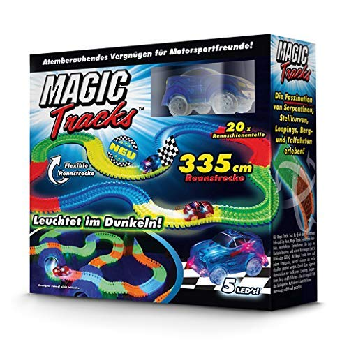 BCdirekt Car Track Magic Tracks Starter Set | Racing car Toy for Children from 3 Years Old Fluorescent | Magic Tracks car | with self Moving car
