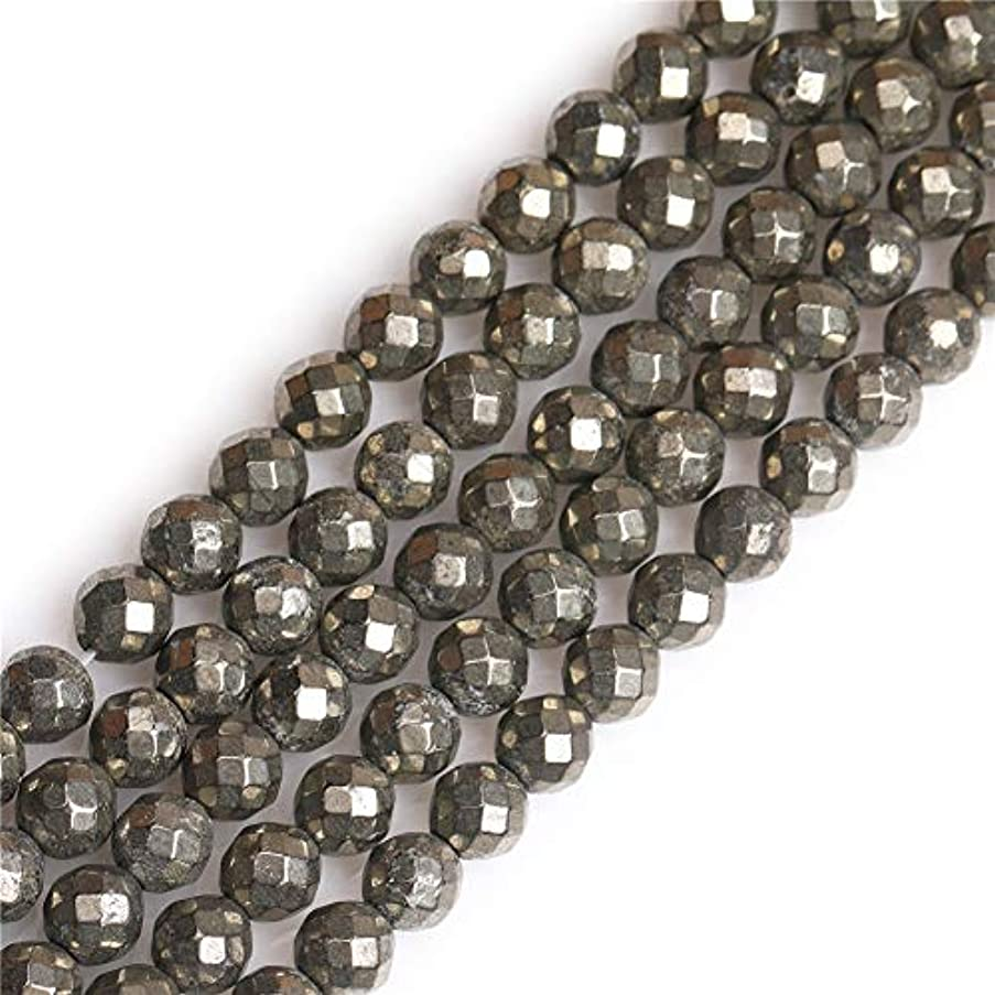 GEM-inside Pyrite Gemstone Loose Beads 6mm Round Faceted Silver Gray Energy Stone Power Beads for Jewelry Making 15
