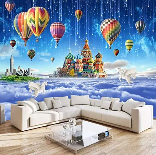 3D vliesbehang 3D vliesbehang behang 5D eenvoudige cartoon tv achtergrond afbeelding 3D fantasie kasteel kinderkamer behang anime prinses dinis muurschildering 300 x 210 cm.