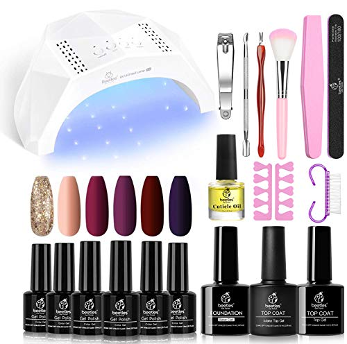 Beetles Full Maroon Gel Nail Polish Starter Kit with 48W UV/LED Light Nail Lamp Base Top Coat 3 Timer Setting, Soak Off Gel Polish Autumn Winter 6 Colors Manicure Tools Essentials Gift Set