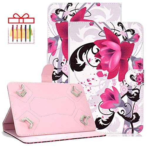 Popbag Universal Case for Amazon Kindle Fire HD 8 2016 2017 2018, Lenovo Tab 4 8', ASUS MeMO Pad 8, Slim Fit Protective Folio Stand Wallet with Card Holder Pocket for All 7.5-8.5' Tablet, B-Flower