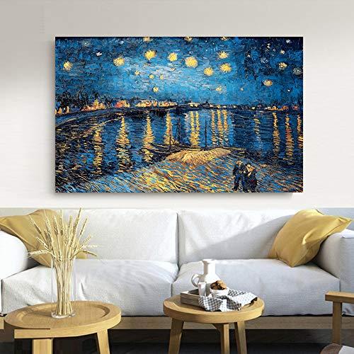SKIUHS Elegante poesia Notte stellata sul fiume Rodano di Vincent Van Gogh Famoso artista Stampa artistica Poster Immagine murale Pittura su tela
