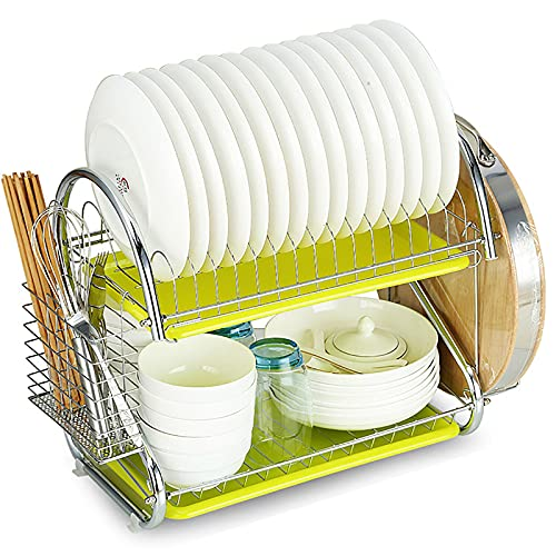 QYQS Multifunctional double-layer dish drain rack, kitchen storage tray, household storage and drying dish rack, stainless steel,D