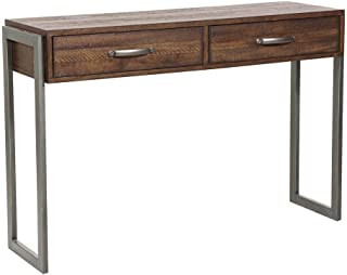 Pulaski Heavily Distressed Industrial Style Two Drawer Storage Console Table Accents, Brown