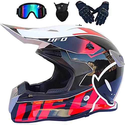 Cascos de moto para niños y adultos, casco integral MTB para motocicleta todo terreno, MX, casco para quad, casco de motocross con gafas, guantes, máscara