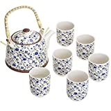 Blue Roses Design Japanese Tea Service Set with Teapot w/Bamboo Top Handle, 1 Leaf Strainer & 6 Teacups