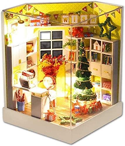 YGXR Muebles y Decoraciones de Cocina, Adornos, casa de muñecas, casa de Bricolaje, Modelo de casa de Feliz Navidad, Mini Muebles de simulación con Luces LED y Cubierta Antipolvo, etc.