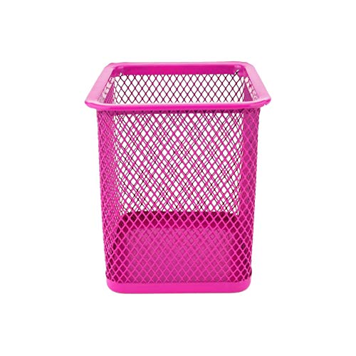 D.RECT Pot à Crayons carré Porte Cube en métal, Gobelet Multifonction pour Stylo à Bille, Conception de Maille, Rose 110849