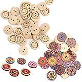 Homo Trends 200 botones de madera de 15 mm para tejer, 100 botones de madera mezclados al ...