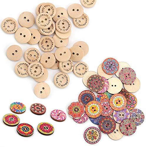 Homo Trends 200 botones de madera de 15 mm para tejer, 100 botones de madera mezclados al azar y coloridos, 100 botones hechos a mano para cárdigan de bebé, costura, manualidades