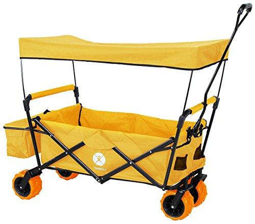 Miweba Faltbarer Bollerwagen MB-10 für Kinder - Bremse - Dach - PU-Breitreifen - Transporttasche - Klappbar - UV-Beständig – Handwagen faltbar (Orange)