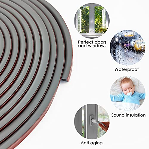 Qishare Silicone Rubber Weather Strip, Multi-Hole Design Seal Strip for Doors and Windows, Professional Self Adhesive Anti Collision Soundproof Waterproof Dustproof Windproof, 6M (D9x8mm, Gray)