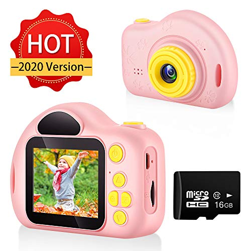 hyleton Kids Camera Children Digital Video Cameras for Boys Birthday Toys Gifts for 4 5 6 7 8 9 10 Year Old Girls,Compact Camera Toddler Video Recorder 1080P IPS 2 Inch(Pink)