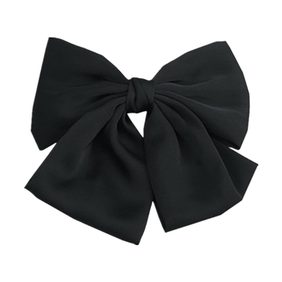 Black Color Satin Large Bow Hair Clips Clips Women Barrettes