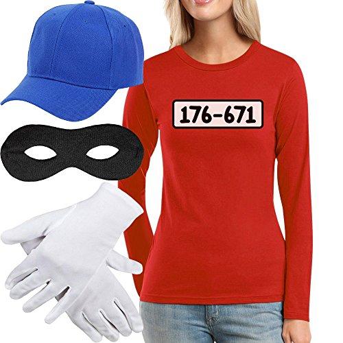 Panzerknacker Kostüm Langarm-Shirt + MÜTZE + Maske + Handschuhe Frauen Langarm-T-Shirt X-Large Rot