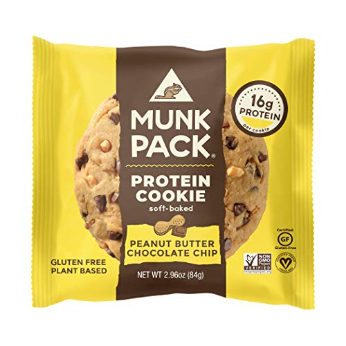Munk Pack Protein Cookie, Peanut Butter Chocolate Chip, 12 Pack, 16 Grams of Protein, Soft Baked, Pantry Friendly, Vegan, Gluten Free, Dairy Free, Soy Free