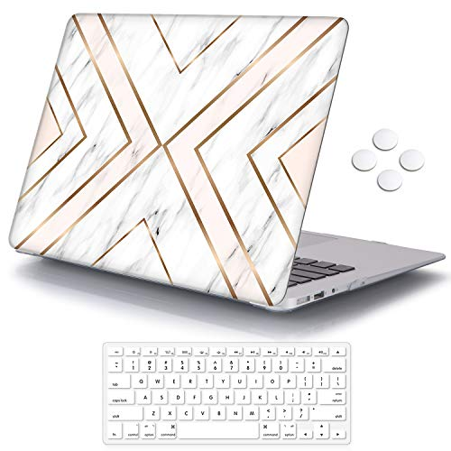 iCasso Compatible with MacBook Air 11 inch Case Model A1370/A1465, Ultra Slim Pattern Plastic Hard Shell Case Protective Cover MacBook Air 11'' with Keyboard Cover Screen Protector - Geometric Marble