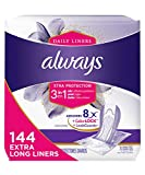 Always Xtra Protection 3-in-1 Daily Liners Extra Long with Leakguards, 144 Count, Unscented, (3 Packs of 48 - 144 Count Total)