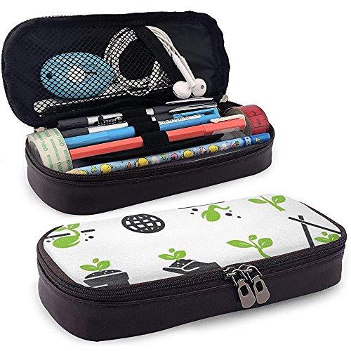 PU Leder Bleistift Tasche Reißverschluss Schreibwaren Tasche, Sprout