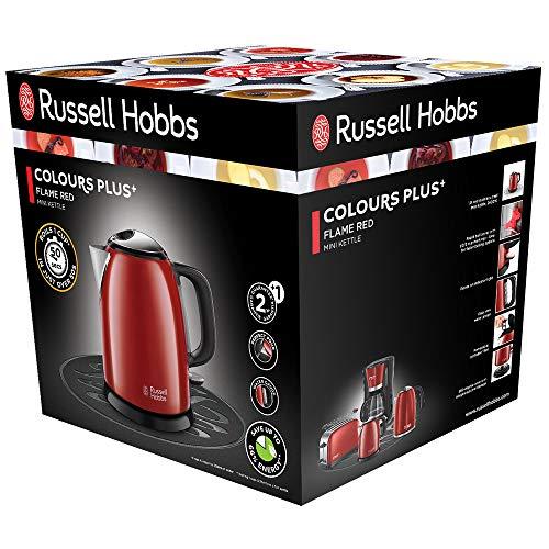 Russell Hobbs 24992-70 Bollitore, 2400 W, 3 Cups, Superficie in Acciaio Inossidabile Verniciato di Alta qualità con Applicazioni in plastica, Rosso