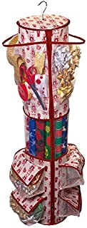 Paula Deen Round Gift Wrap Organizer - Heavy Duty Storage for Wrapping Paper, Gift Bags, Bows, Ribbon and More - Organize Your Closet with this Hanging Bag & Box to Have Organization, Clear Pockets