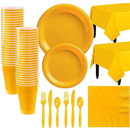 Bestomrogh 142pcs Disposable Tableware Set,Party Paper Dinnerware Set Party Plate Tablecloth Cups Napkins Knives Forks for Wedding, Party, Christmas, Birthday(Yellow)