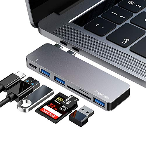 USB C Hub Adapter for MacBook Pro/Air 2020 2019 2018, 6 in 1 USB-C Accessories Compatible with MacBook Pro 13″ and 15″ with 3 USB 3.0 Ports, TF/SD Card Reader, USB-C Power Delivery
