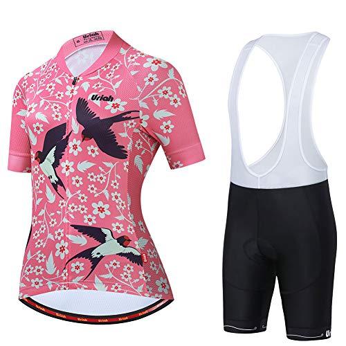 Uriah Women's Cycling Jersey Bib Shorts White Set Short Sleeve Reflective with Rear Zippered Bag Swallow Size XL