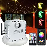 AMKI 32W Bluetooth Controlled Fiber Optic Light Star Ceiling Kit,LED RGBW Twinkle Engine Driver with RF 28 Key Remote Control + Crystal + Cables (1000pcs0.03in16.4ft)