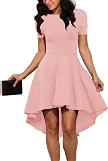 25079b4345aa ReoRia Womens Scoop Neck Short Sleeve High Low Cocktail Skater Dress