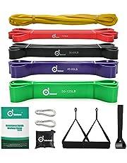 Odoland Fitnessbandenset, pull-up weerstandsband in 5 verschillende treksterktes, expander-banden, set incl. optrekband, weerstandsbanden, handgrepen, voetbanden, deuranker, draagtas