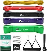 Odoland Fitnessbandenset, pull-up weerstandsband in 5 verschillende treksterktes, expander-banden, set incl. optrekband,...