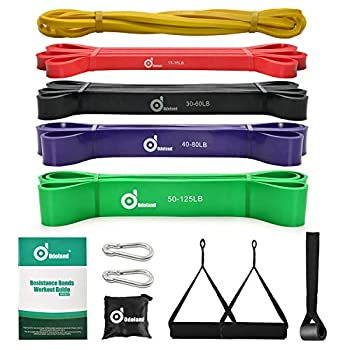 Odoland 5 Packs Pull Up Assist Bands Pull Up Straps Resistance Bands with Door Anchor and Handles Stretch Mobility Powerlifting and Extra Durable Exercise Bands with eGuide