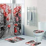 MNIAHGFQW Cortina de la duchaCortinas de Ducha Elegantes de la Torre de París Rosa, Juego de Cortinas de baño, Pintura 3D Floral Francia París, Alfombra de baño, Alfombra, Arte, decoración del hogar