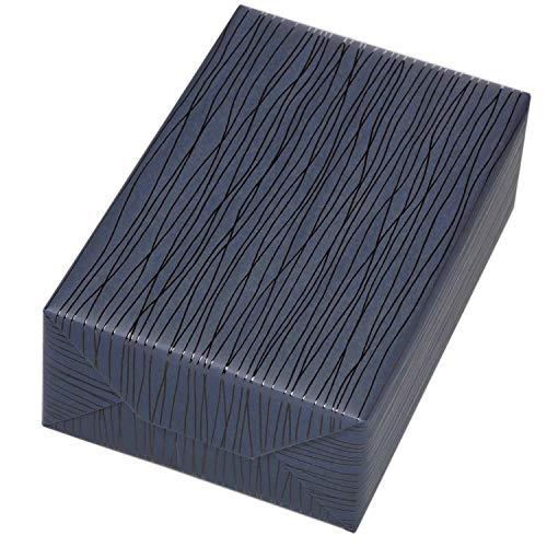Geschenkpapier edel 3 Rollen (75 x 150 cm), Motiv Lines Lack-Linien Geschenkpapier in schwarz auf dunkelblauem, matten Fond. Für Geburtstag, Männer. Modern und hochwertig.