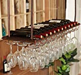 Adornos de Navidad Estante del vino de cristal, montaje en techo colgantes titular de la botella de vino de una hilera de copas sostenedor del estante de la botella de vino de la vendimia lleva a cabo