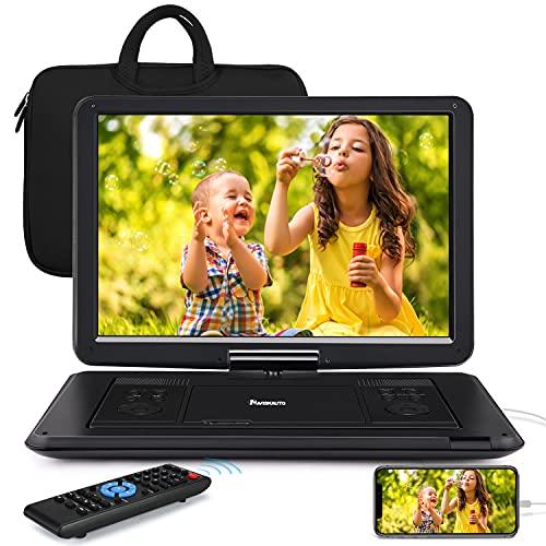 17,5''NAVISKAUTO Lecteur DVD Portable Voiture avec Sacoche de Transport Grand Ecran 16 Pouce pour Enfant Supporte HDMI Input,Vidéo Full HD, AV in/Out,Region Libre,Dernière mémoire,USB MMC