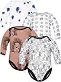 Sibinulo Jungen Mädchen Body Langarm 4er Pack Schwarze Elefanten Graue Elefanten Luftballons Igele 86(12-18 Monate)